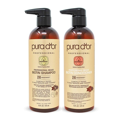 PURA D'OR Professional Grade Golden Biotin Anti-Hair Thinning 2X Concentrated