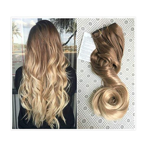 20 Inches 3-4 Full Head One Piece Ombre Dip Dyed Loose Curls Wavy Curly Clip-in Hair Extensions