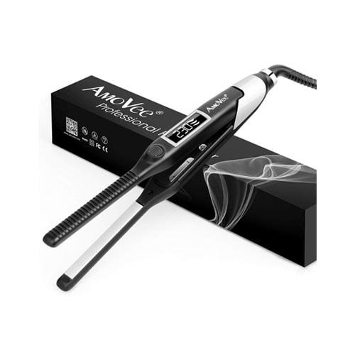 AmoVee Pencil Flat Iron Professional Titanium Ceramic Hair Straightener for Short Hair